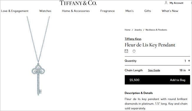 Detail kalung yang dipakai Sisca Kohl. (tiffany.com)