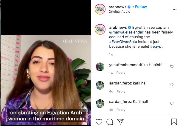 Tangkapan layar postingan Instagram Arab News tentang hoaks Marwa Elselehdar dan insiden Terusan Suez