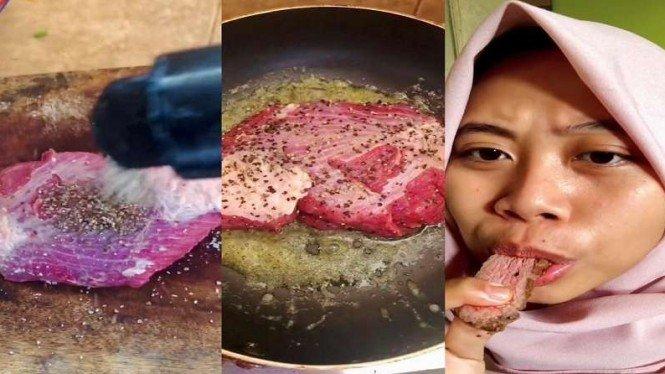Netizen masak steak dari daging kurban, teksturnya alot dan keras
