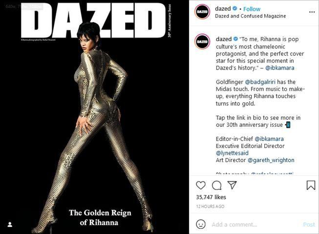 Pemotretan Rihanna untuk cover majalah Dazed. (Instagram/@dazed)