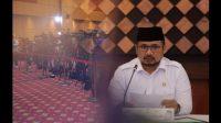 Menteri Agama RI Yaqut Choilil Coumas saat menggelar konferensi pers ibadah haji 2021. Foto: kemenag.go.id